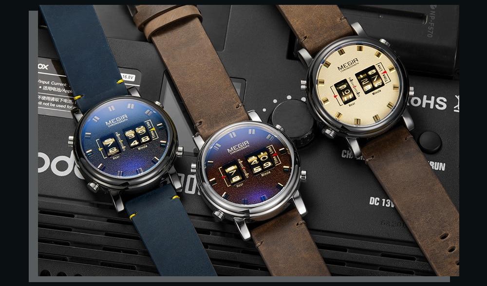 MEGIR Fashion Men's Roller Design Business Clock Men Quartz Watch Leather Waterproof Casual Sport Mens Watches Relogio Masculino