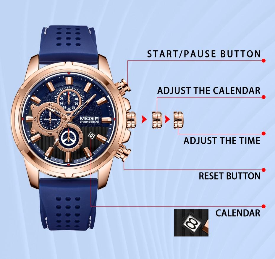 Relogio Masculino MEGIR New Sport Chronograph Silicone Mens Watches Top Brand Luxury Quartz Clock Waterproof Big Dial Watch Men