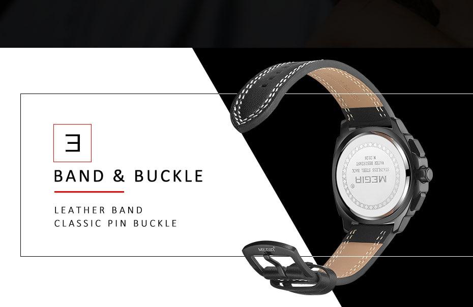 MEGIR Mens Watches Top Brand Sports Watch Man Luminous Waterproof Leather Band Military Quartz Watch Clock Men Relogio Masculino