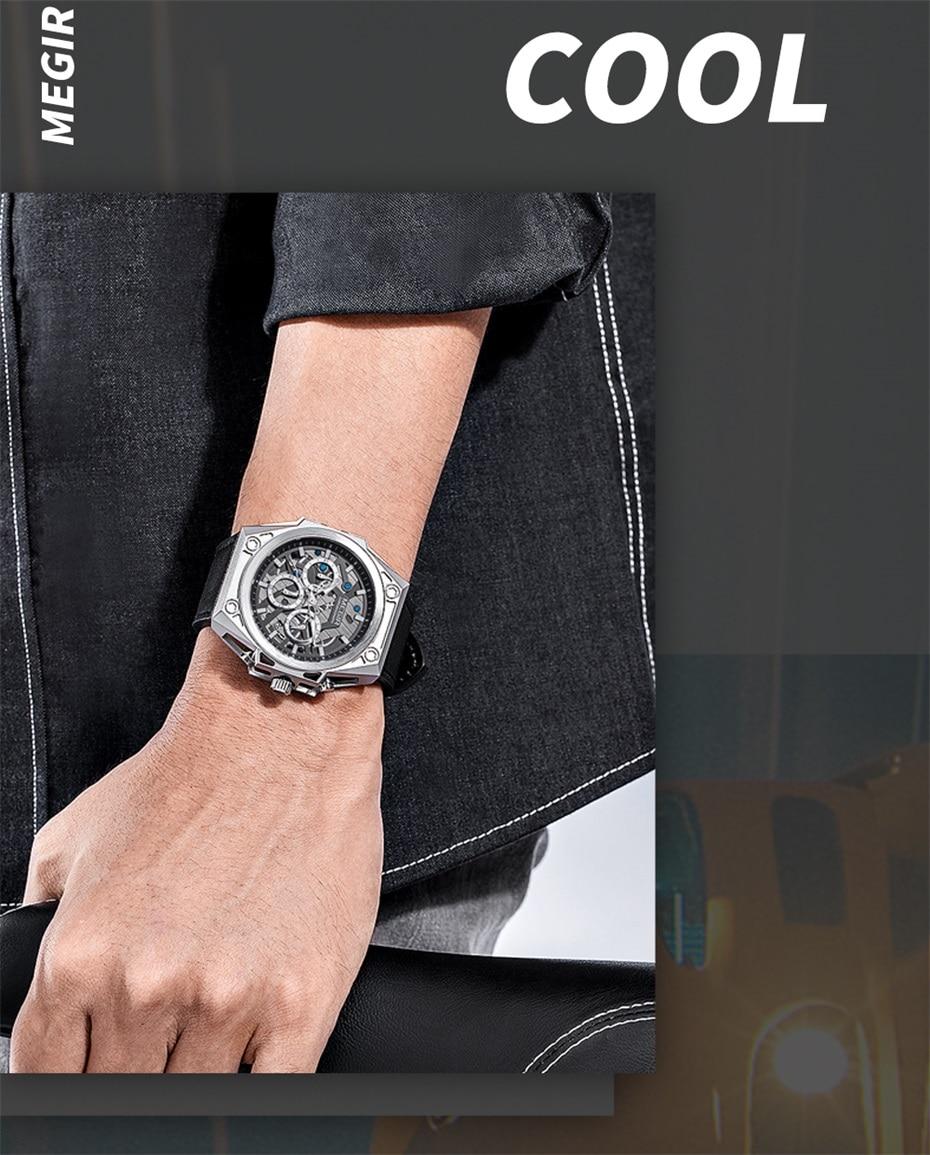 MEGIR Stainless Steel Mens Watches Waterproof Sports Men Quartz Wristwatches Chronograph Stop Watches for Man Male Clock Hour