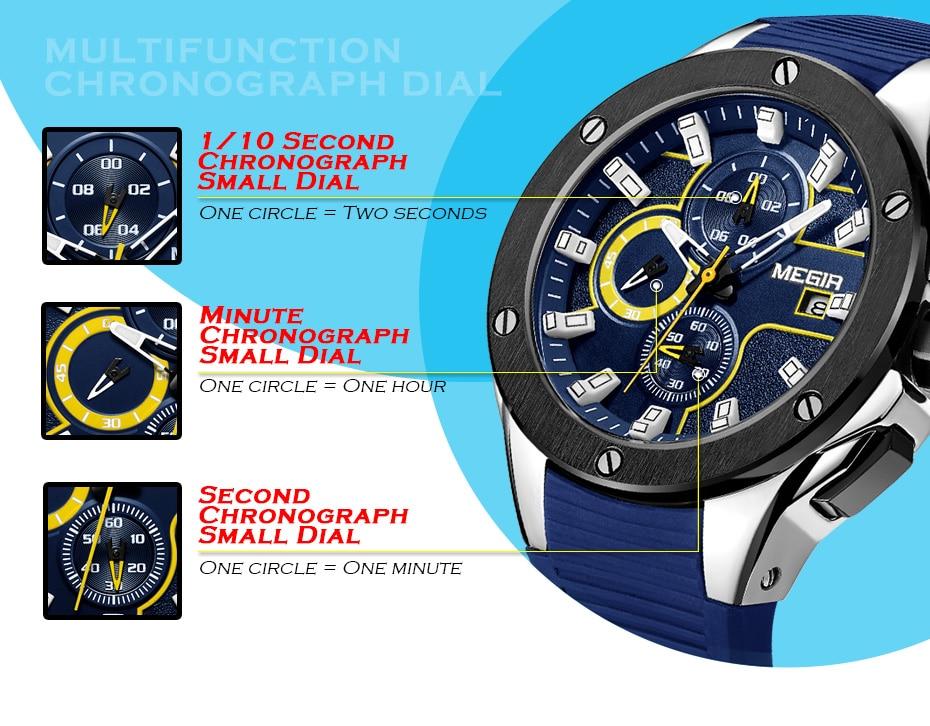 MEGIR Men Sport Watch Top Brand Luxury Waterproof Luminous Chronograph Quartz Army Military Watches Clock Men Relogio Masculino