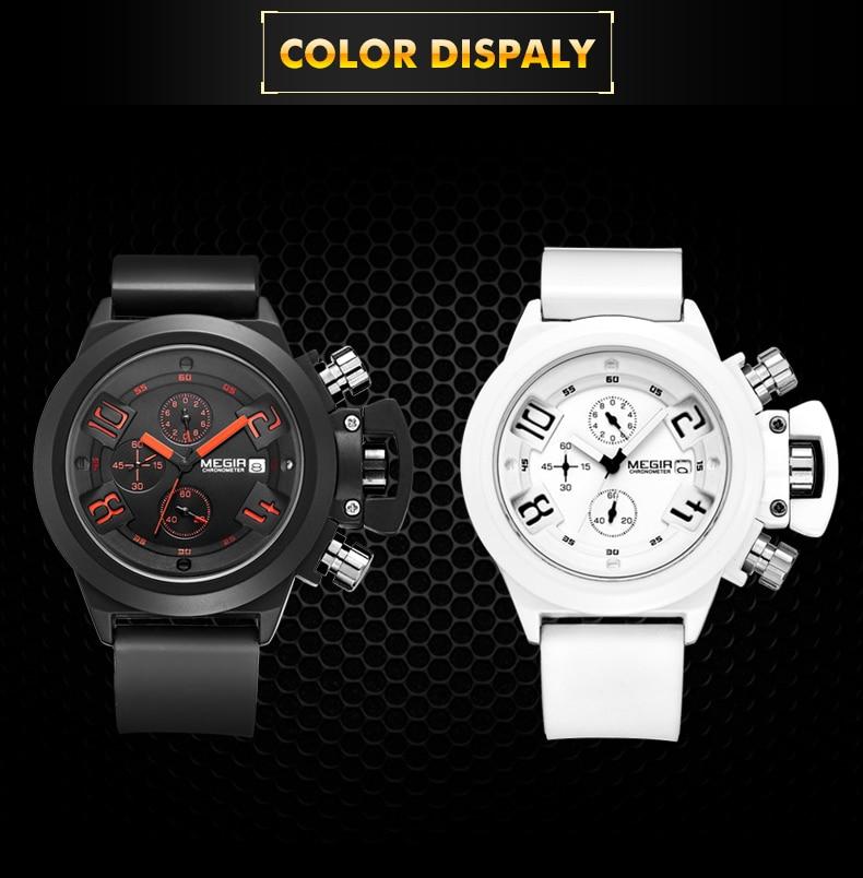MEGIR 3D Engraved Dial Clocks Male Sport Quartz Men Watches Black Silicone Waterproof Military Chronograph Watch Reloj Hombre