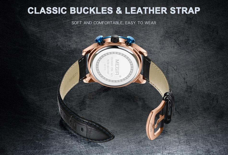 MEGIR Chronograph Men's Leather Sport Quartz Watch Men Montre Homme Fashion Casual Men Watches Military Analog Relogio Masculino