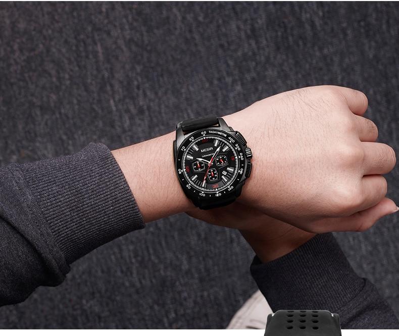MEGIR Fashion Men's Watches Top Brand Luxury Clocks Big Dial Military Quartz Watch Men Waterproof Sport Chronograph Wristwatches