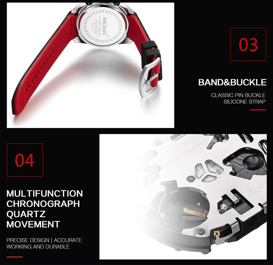 2021 MEGIR Watch Top Brand Mens Watches with Chronograph Waterproof Silicone Sport Wristwatch Men Watch Analog Quartz Relogio