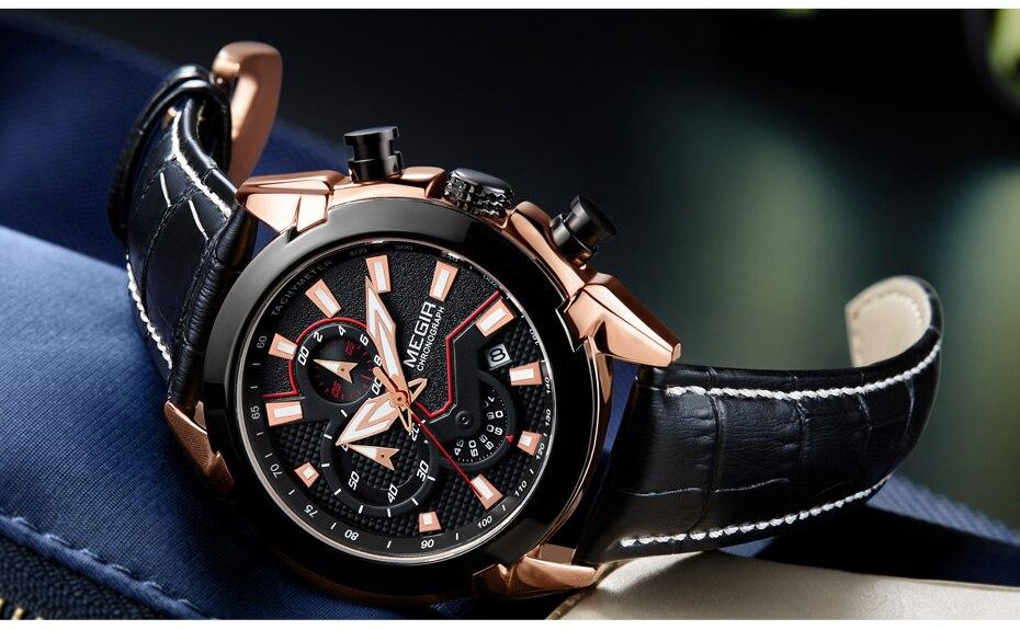 2021 New MEGIR Men's Fashion Sports Quartz Watch Men Leather with Chronograph Mens Watches Military Waterproof Sport Wrist Watch
