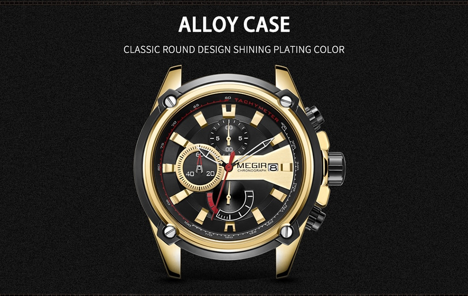 MEGIR Fashion Men Watch Top Brand Luxury Chronograph Waterproof Sport Mens Watches Silicone Automatic Date Military Wristwatch
