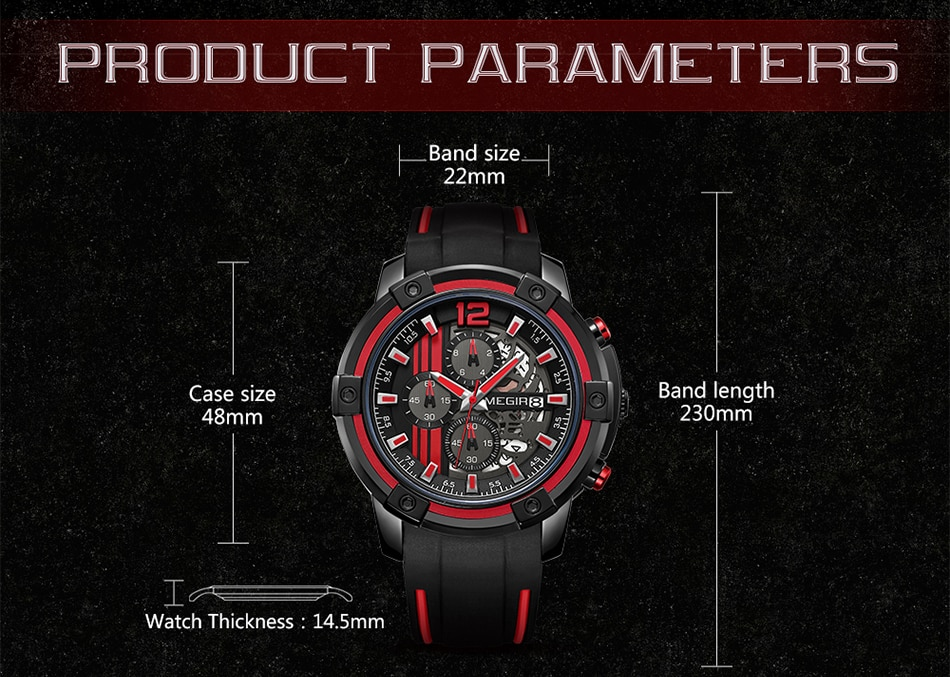 Relojes 2021 MEGIR Watch Men Luxury Chronograph Silicone Waterproof Sport Military Mens Watches Analog Quartz Relogio Masculino