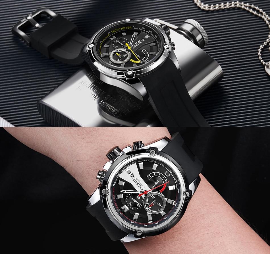 Top Brand MEGIR Watch Men Sport Business Chronograph Silicone Strap Quartz Mens Watches +Bracelet Set Men's Military Wrist Watch