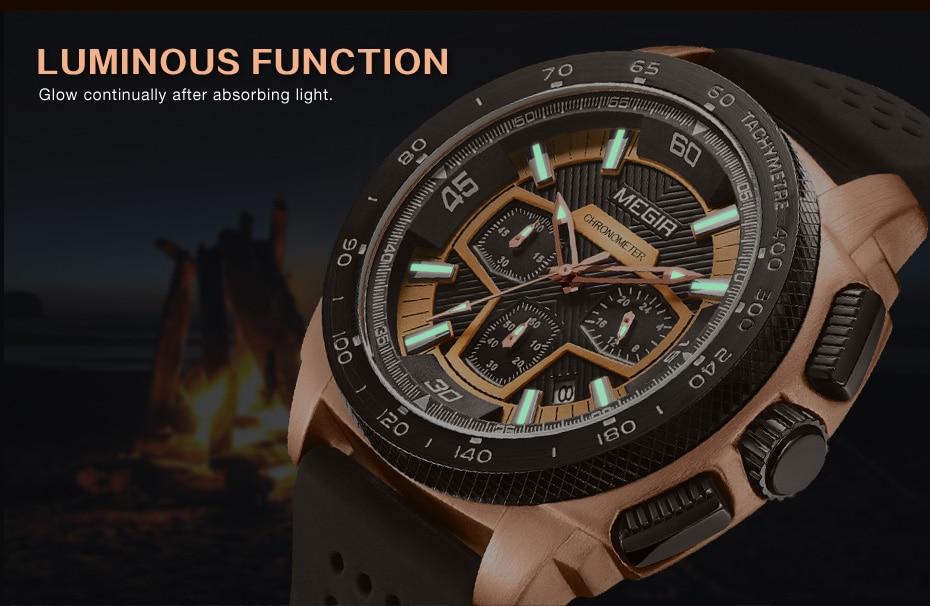 MEGIR Mens Watch Top Luxury Brand Men Analog Sport Quartz Watches Silicone Strap Waterproof Army Military Chronograph Male Clock