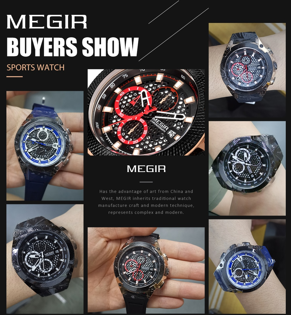 Relogio MEGIR New Sport Men Watch Famous Luxury Brand Chronograph Military Fashion Men's Silicone Quartz Clock Men Watches