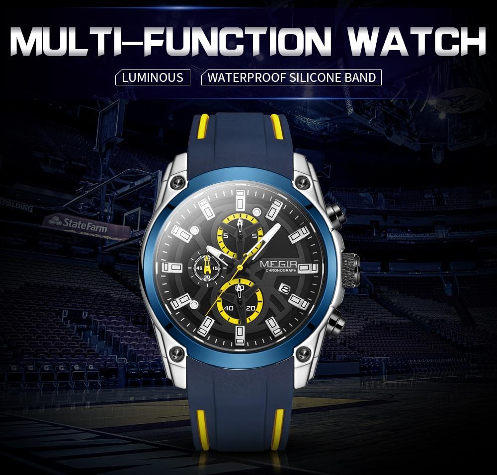 MEGIR Fashion New Mens Watches Top Luxury Brand Sport Quartz Watch Men Chronograph Waterproof Luminous Wristwatch Date Clock