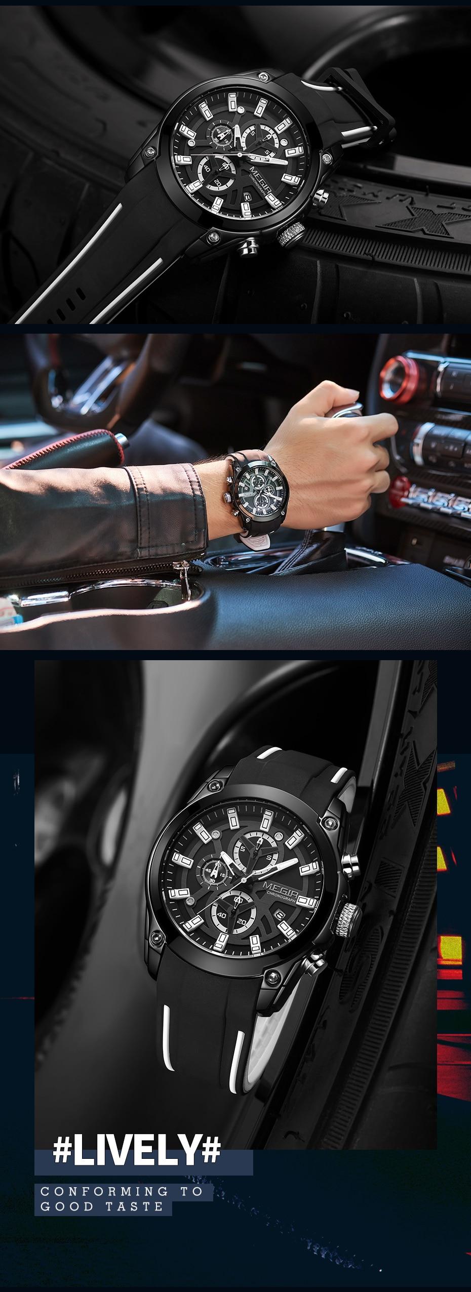 MEGIR 2020 New Mens Watches Top Brand Luxury Sports Wrist Watch Man Rose Black Silicone Waterproof Luminous Military Watch Clock