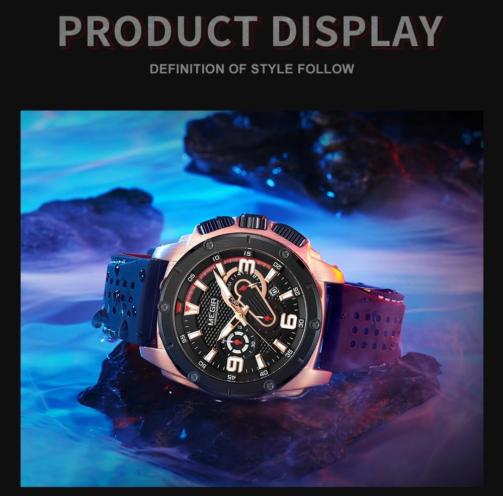 MEGIR Mens Watches Chronograph Military Waterproof Sport Quartz Watch Men Luxury Brand Male Wristwatch Big Dial Silicone Clock