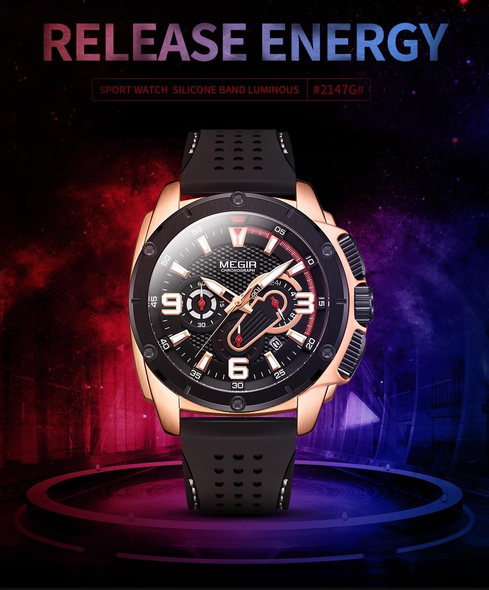 MEGIR Fashion Watch Mens Chronograph Luxury Brand Sport Quartz Watch Men Military Waterproof Analog Wristwatch Relogio Masculino