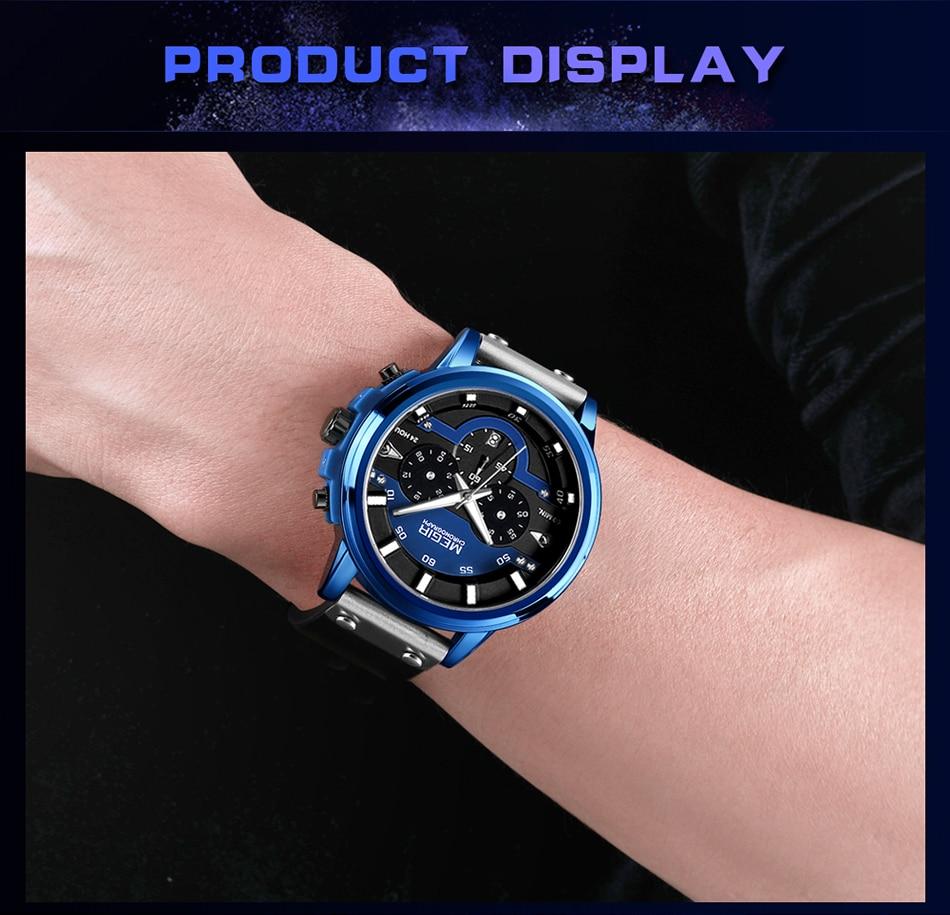 MEGIR Mens Watches Top Brand Luxury Men's Big Dial Military Sport Watch Men Quartz Chronograph Army Waterproof Relogio Masculino