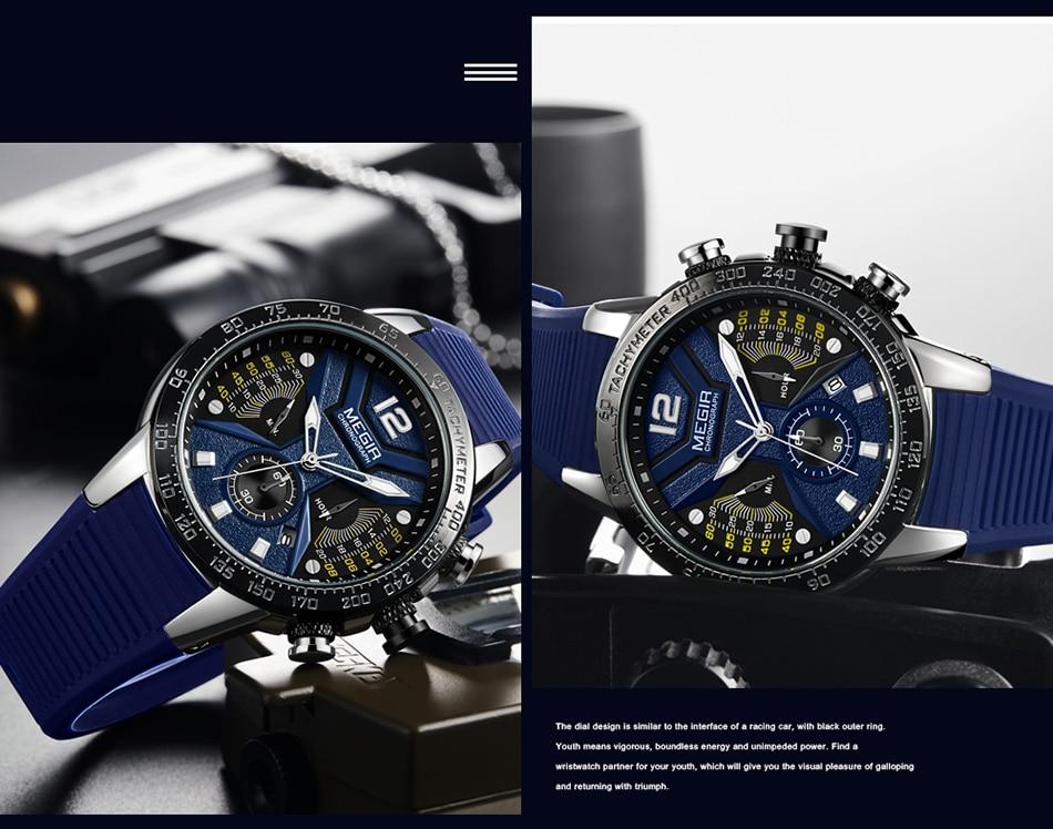 2021 New MEGIR Watch Men Luxury Brand Silicone Sport Chronograph Quartz Clock Mens Watches Waterproof Date Military Wrist Watch