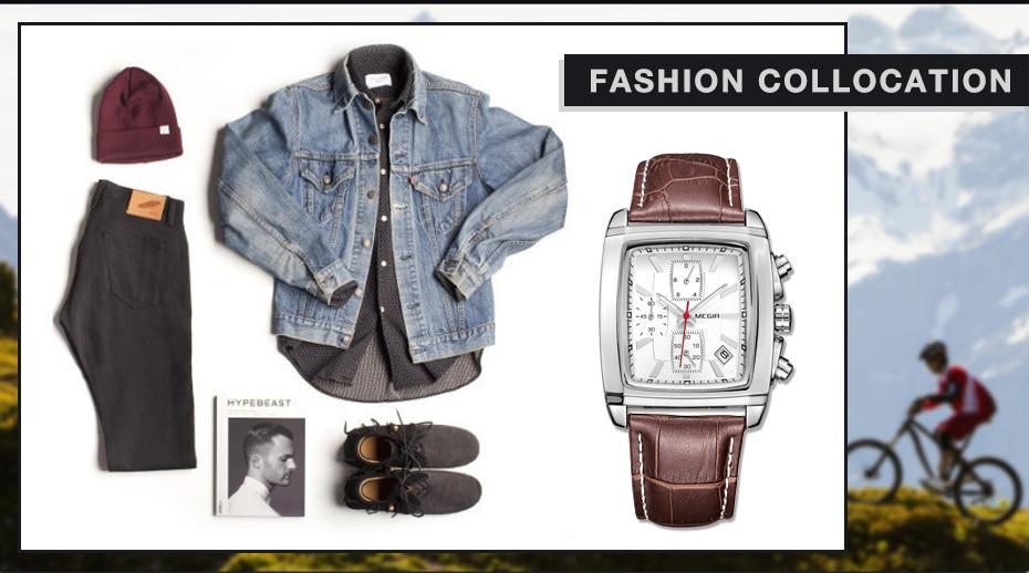MEGIR Original Watch Men Top Brand Luxury Rectangle Quartz Military Watches Waterproof Luminous Leather Wristwatch Men Clock