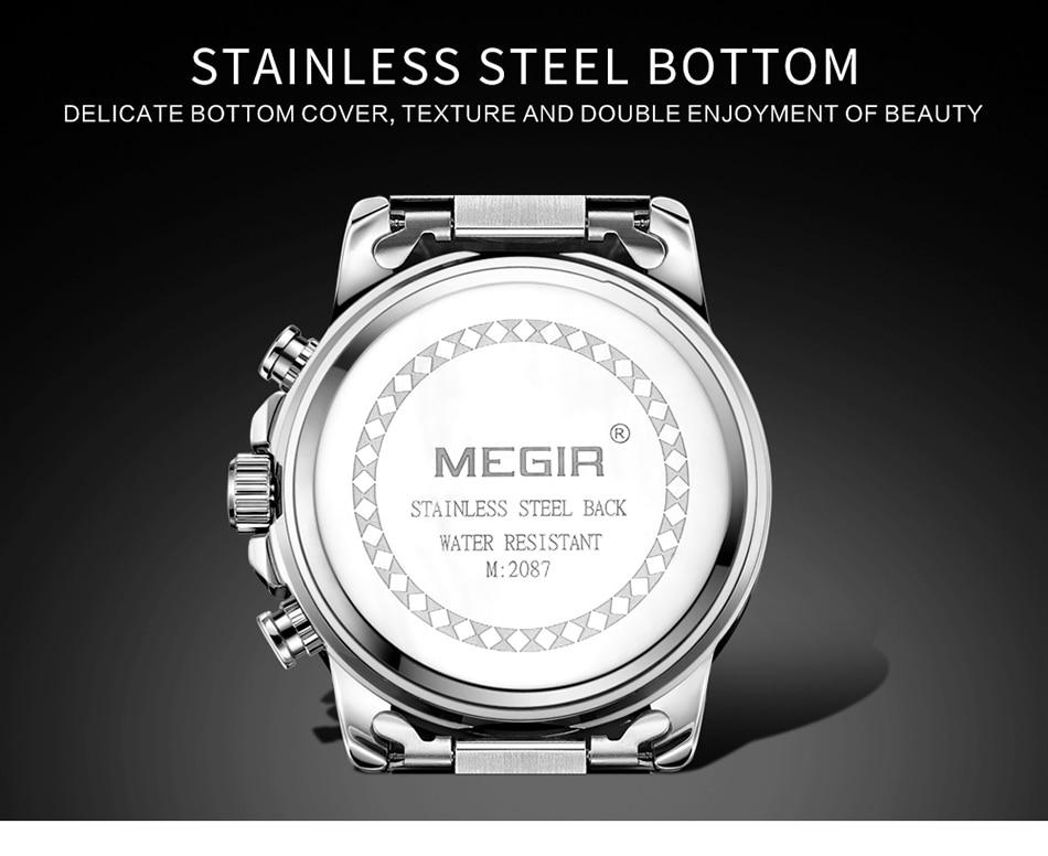 Mens Watches MEGIR Top Brand Luxury Full Steel Waterproof Watch Men 24 hour Date Quartz Sport Military Wristwatches Male Clock