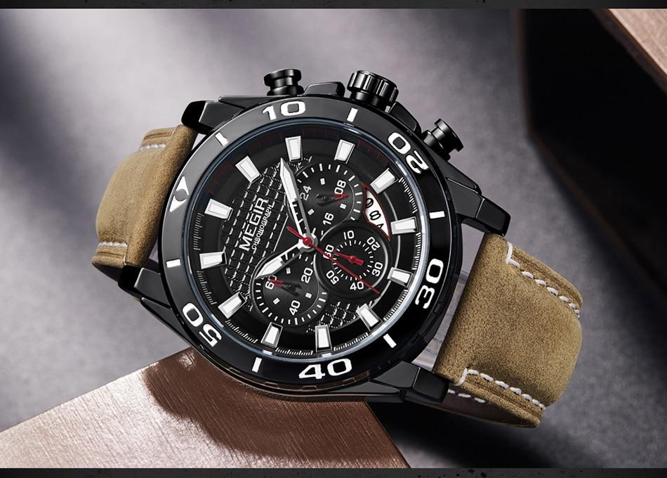 2021 MEGIR Chronograph Mens Watches Top Brand Luxury Golden Men's Quartz Watch Leather Waterproof Military Sport Watch Men Reloj
