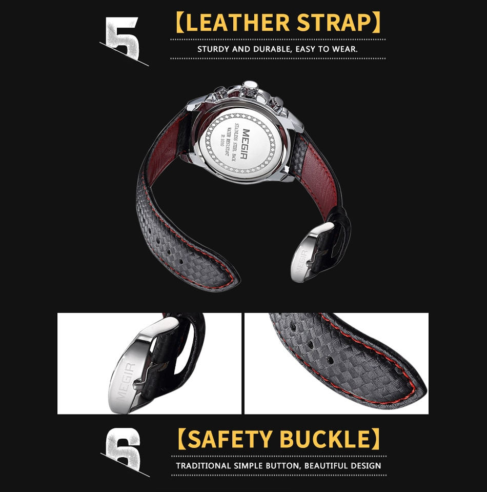 MEGIR Watches Men's Quartz Wrist Watches Top Brand Luxury Male Fashion Casual Luminous Waterproof Clock Leather Watch Hot 1010