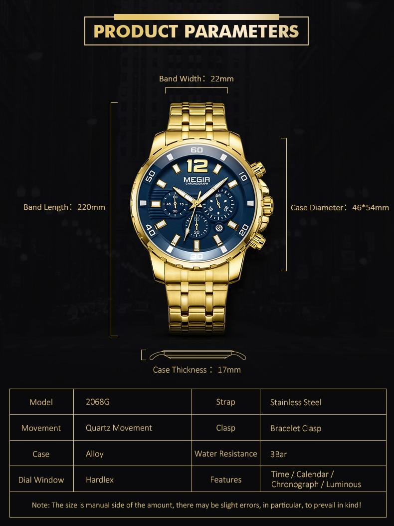 2021 New Men Watch MEGIR Luxury Gold Business Chronograph Sport Mens Watches Full Steel Military Quartz Wristwatches Clock Men