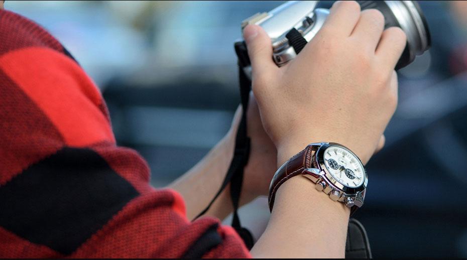 MEGIR Genuine Black Genuine Leather Watches Men Luxury Brand Quartz Watch racing men Students Game Run Chronograph Wristwatches