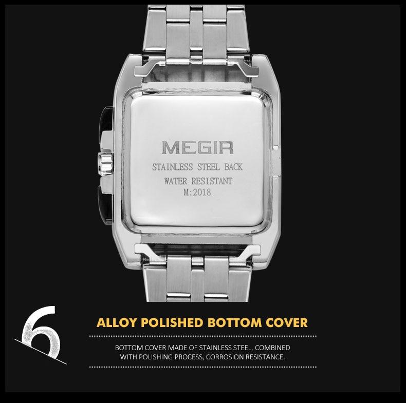 Male Clock Business Big Dial Wristwatches MEGIR Top Brand Luxury Quartz Watch Men Stainless Steel Band Relogio Masculino