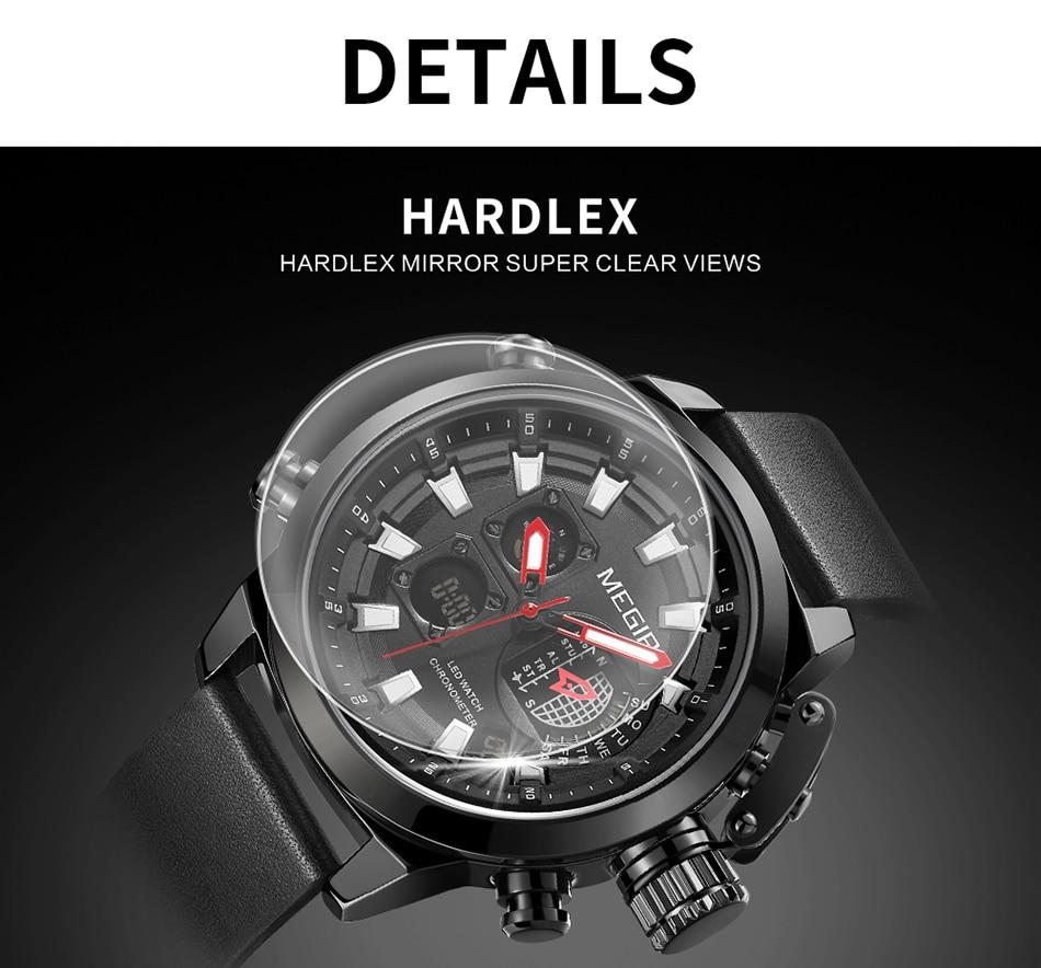 MEGIR New Watch Men Luxury Brand Analog Digital Sports Mens Watches Leather Army Military Waterproof Wristwatch 2021 Male Clock