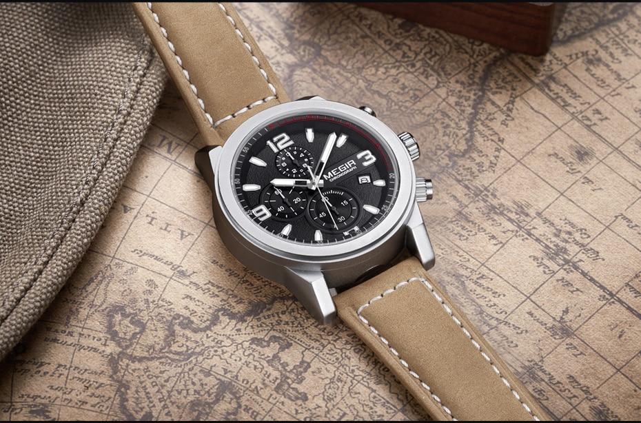 MEGIR Fashion Watch Top Brand Men Quartz Sport Chronograph Watches Mens Casual Waterproof Army Leather Clock Relogio Masculino