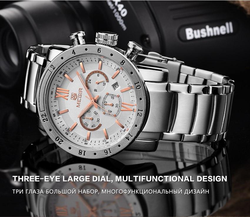 MEGIR 2021 Watch Men Fashion Sport Quartz Mens Watches Waterproof Full Steel Business Chronograph Date Male Relogio Masculino