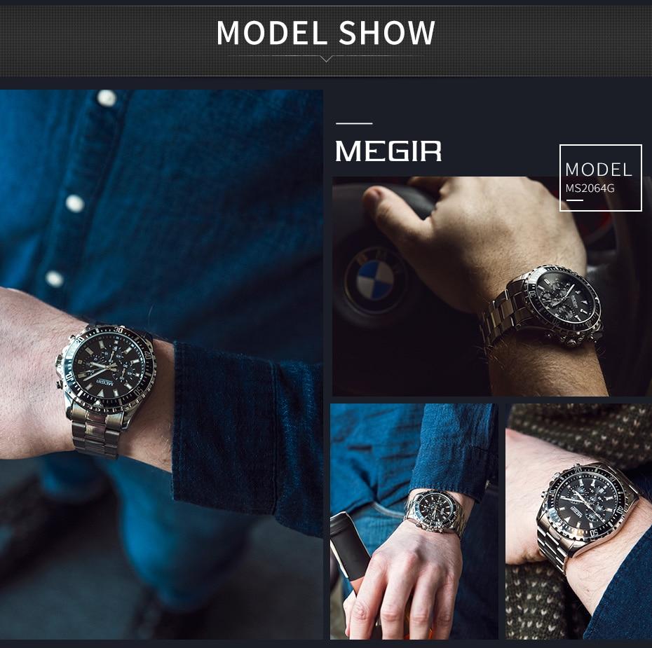 MEGIR Watch Luxury Business Quartz Mens Watches Sport Military Watch Men Full Steel Chronograph Waterproof relogio masculino