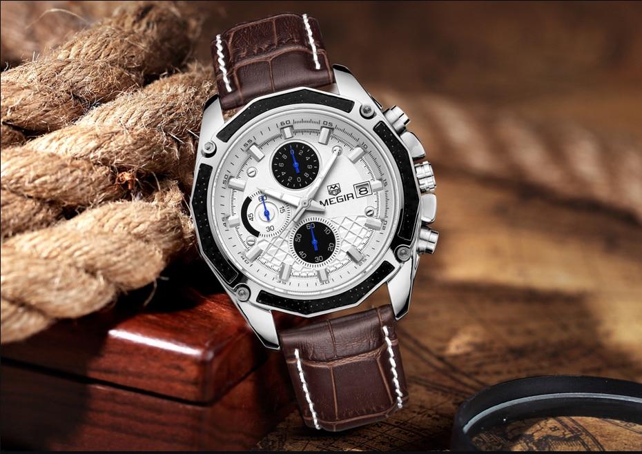 MEGIR Watch Business Quartz Men Watches Military Waterproof Leather Sport Wristwatch Chronograph Male Clock Relogio Masculino