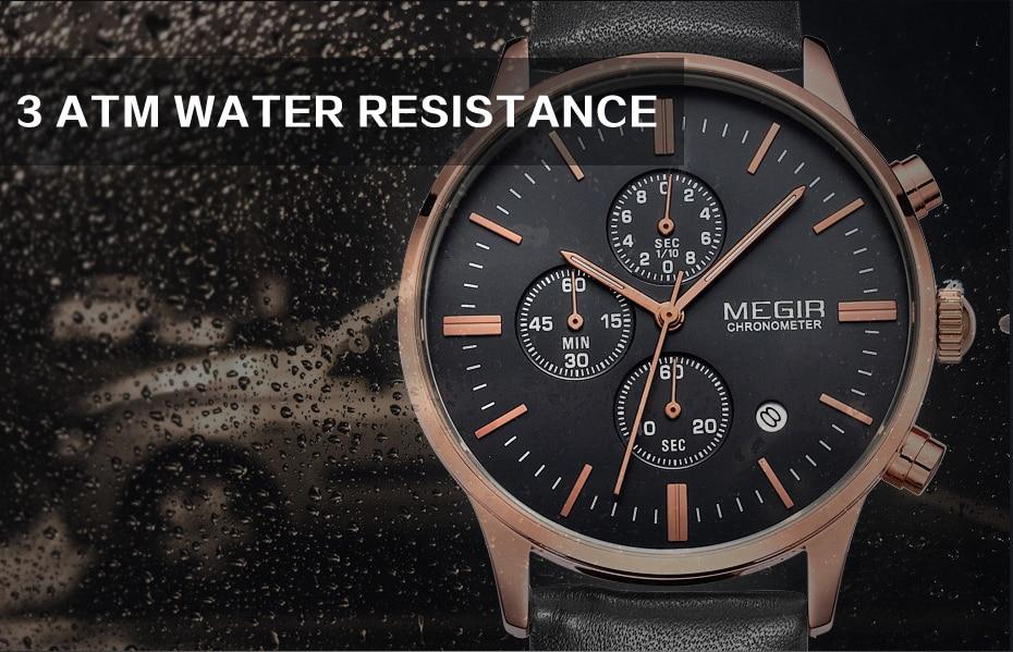 MEGIR Luxury Casual Men Watches Leather Strap Quartz Chronograph Top Brand Watch Military Sport Men relogio feminino Waterproof