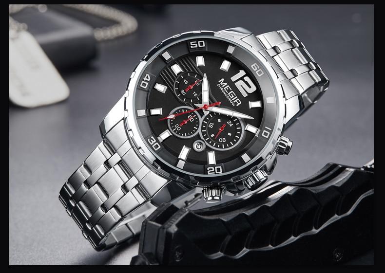 MEGIR Sport Watch Men Fashion Stainless Steel Quartz Wristwatch Military Chronograph Clock Business Casual Waterproof Watches