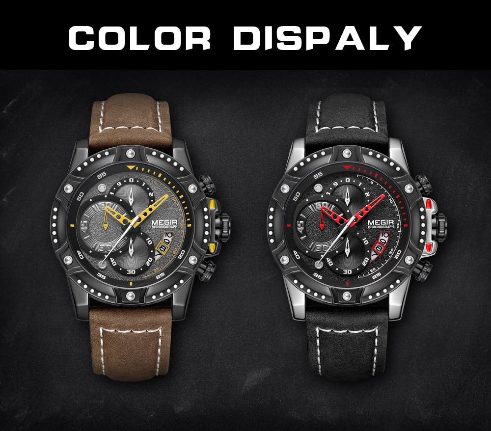 MEGIR Mens Watch New Fashion Chronograph Sport Quartz Watch Men Leather Casual Waterproof Clock Male Military Date Wrist Watch