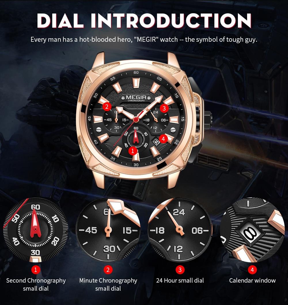 Mens Watches MEGIR Fashion Sport Chronograph Top Brand Luxury Waterproof Men Watch Analog Quartz Wristwatches Relogio Masculino