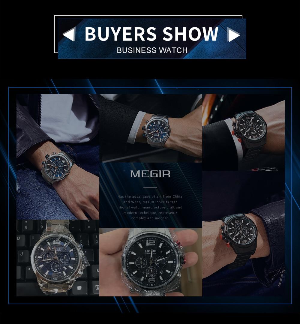 MEGIR Top Luxury Brand Watch Full Steel Mens Sport Quartz Wrist Watch Men Luminous Waterproof Chronograph Military Date Clock