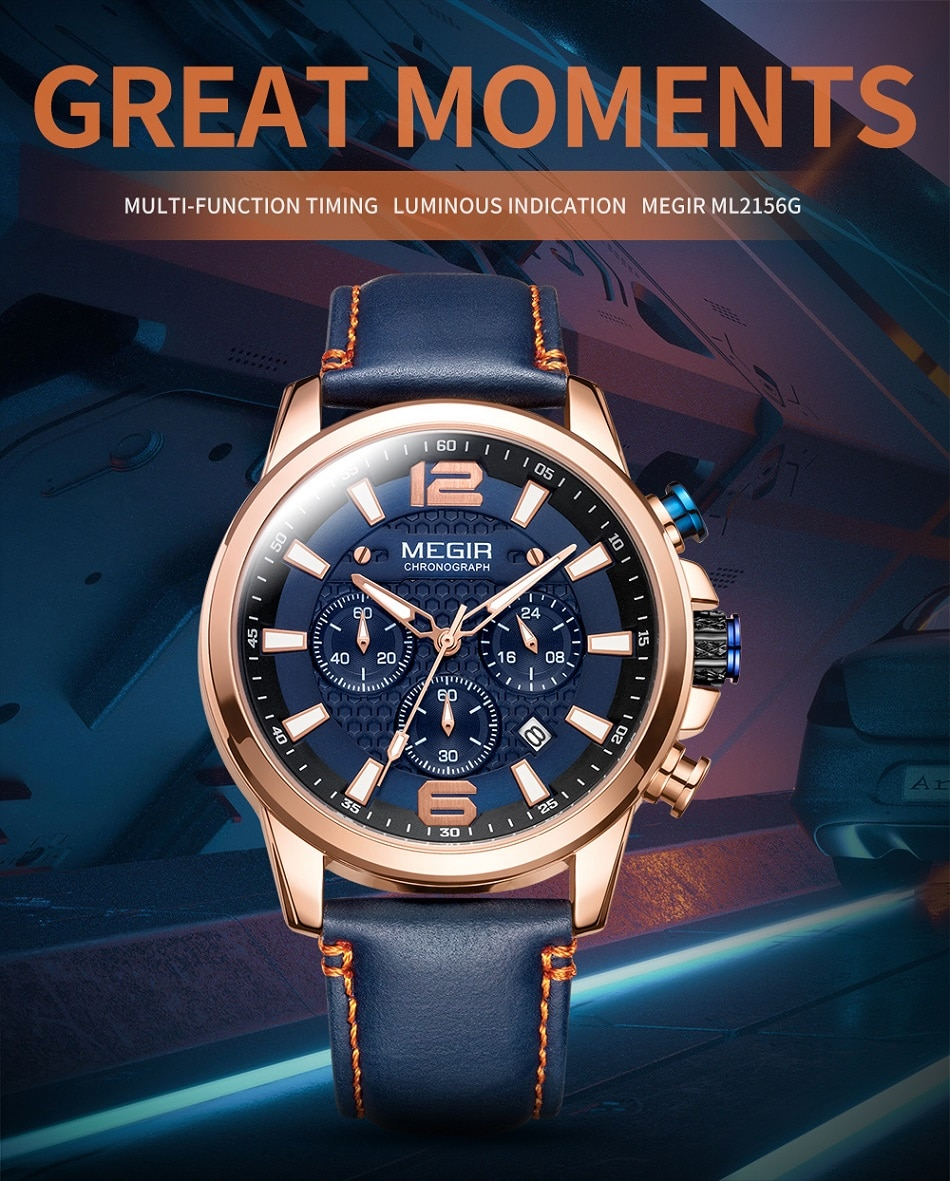 MEGIR Luxury Men's Watch Top Brand Sport Quartz Men Watches Chronograph Waterproof Man Leather Date Wristwatch Relogio Masculino