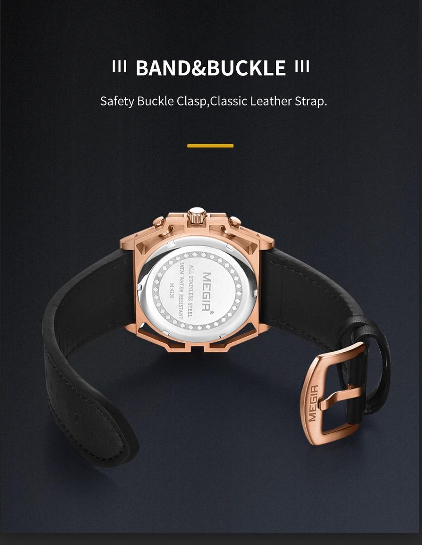 Top Brand MEGIR Men Watches Big Dial Leather Luminous Waterproof Sport Quartz Watch Men Clock Luxury Chronograph Reloj Hombre