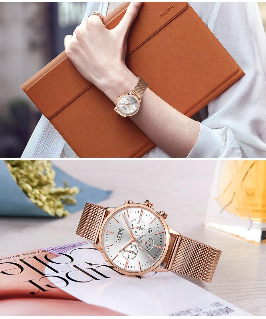 MEGIR Brand Luxury Women Watches Fashion Quartz Ladies Watch Sport Relogio Feminino Clock Wristwatch for Lovers Girl Friend 2011