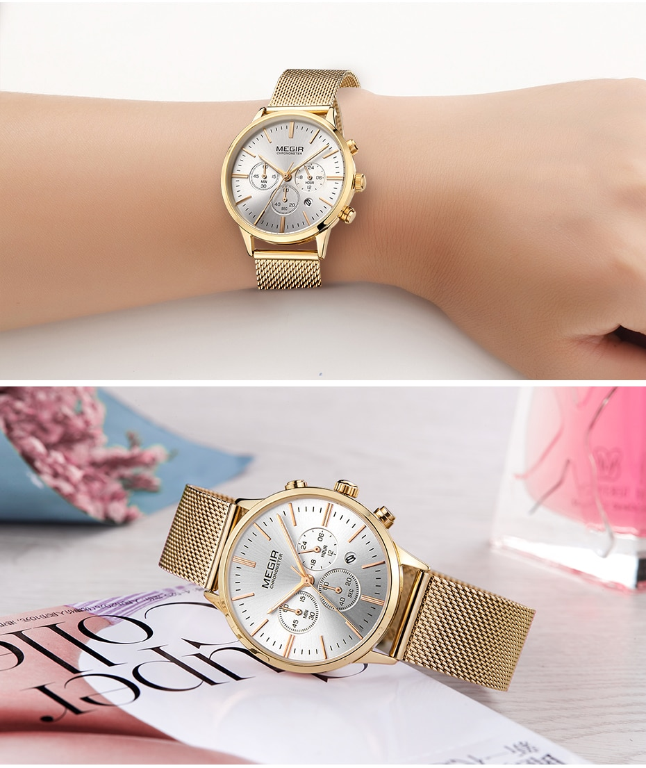 MEGIR Chronograph Luxury Women Bracelet Watches Relogio Feminino Fashion Quartz Lovers Wrist Watch Clock Ladies Girls Gift 2011
