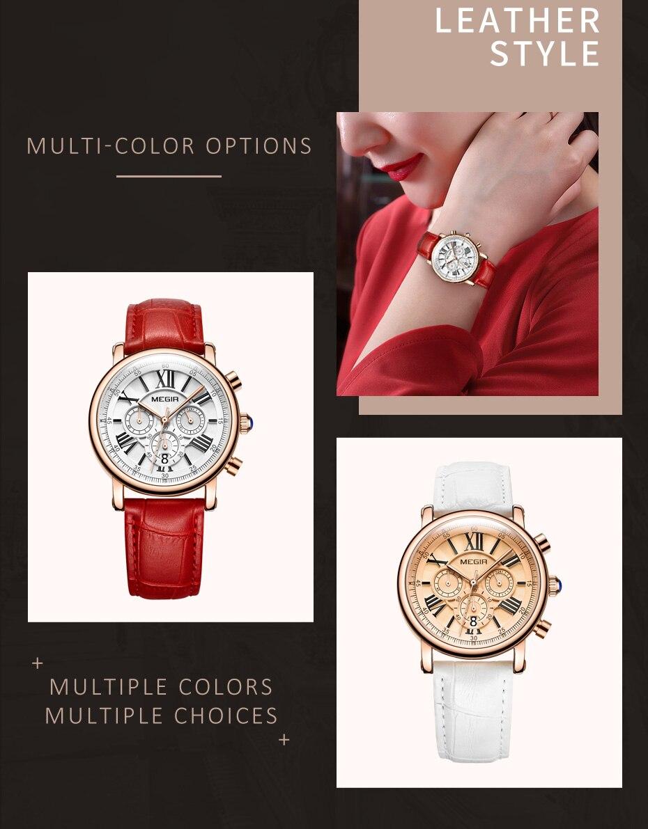 Luxury Brand MEGIR Chronograph Sport Watches Women Bracelet Relogio Feminino Ladies Lovers Quartz Wrist Watch Clock Women 2058