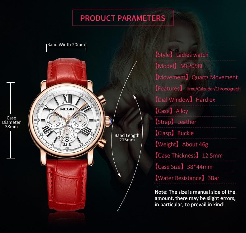 2021 MEGIR Hot Women's Watches Famous Luxury Top Brand Roman Numerals Female Clock Leather Quartz Ladies Watch Relogio Feminino