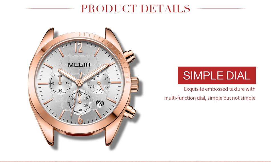 MEGIR Women Watches Top Brand Luxury Female Clock Montre Femme 2021 Fashion Pink Quartz Ladies Watch Lover Gift Relogio Feminino