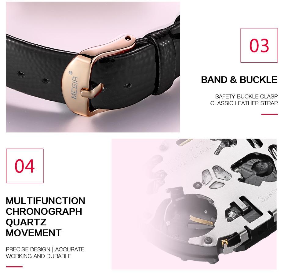 MEGIR Women Fashion Red Quartz Watch Lady Leather Chronograph High Quality Casual Waterproof Wristwatch Luxury Gift for Wife