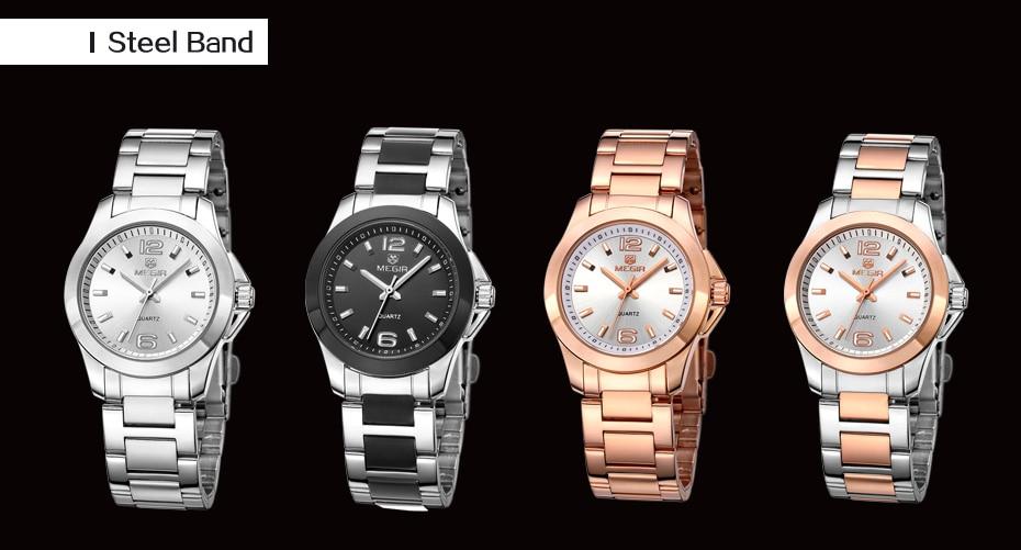 MEGIR Luxury Brand Women Dress Watches Fashion Rose Gold Bracelet Watch for Ladies Wristwatch Female Quartz Clock Montre Femme