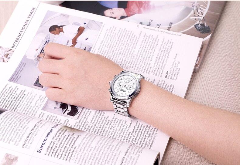 MEGIR Fashion Women Watches Stainless Steel Chronograph Top Luxury Brand Ladies Bracelet Quartz Watch Rose Gold Relogio Feminino