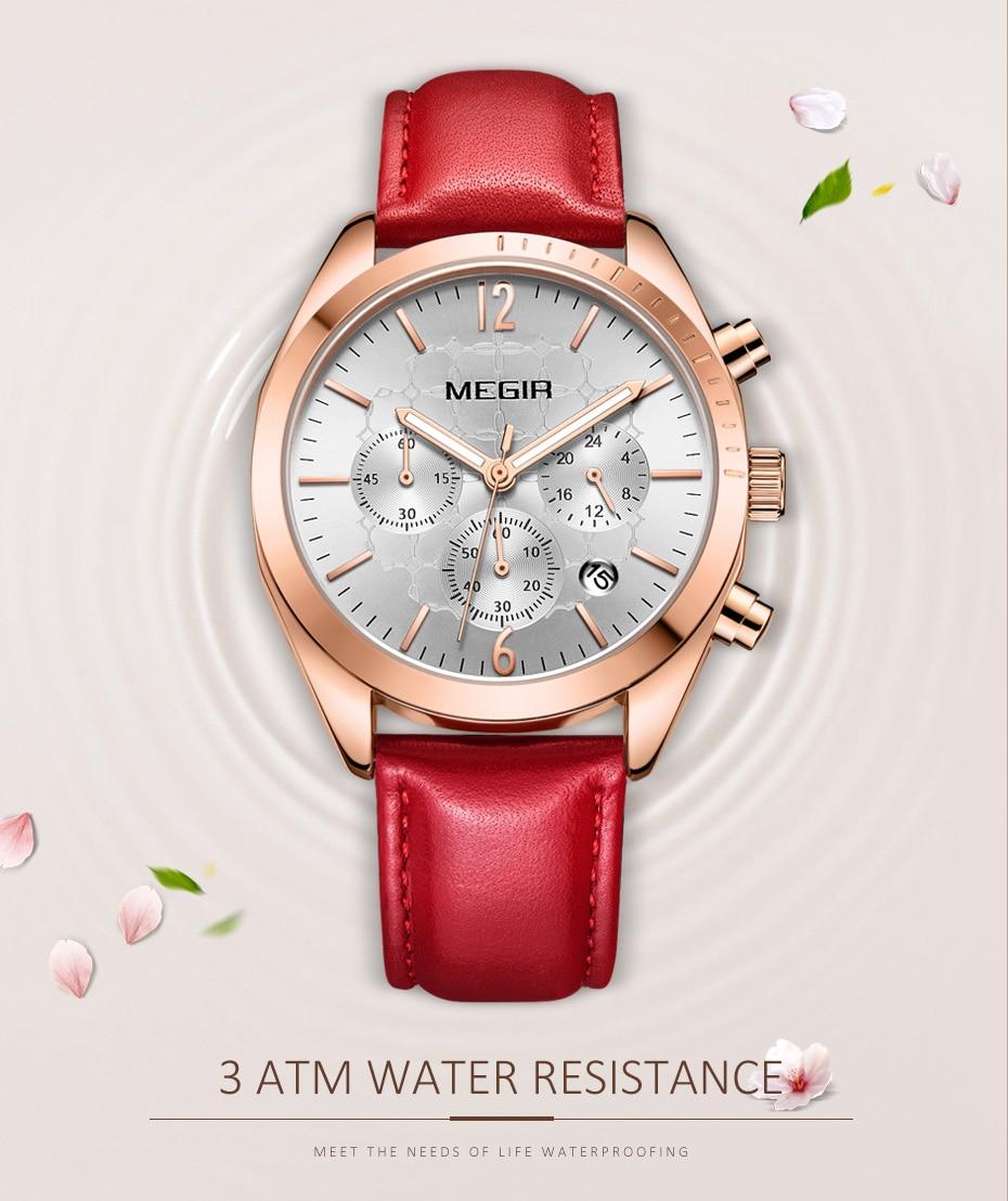 MEGIR Fashion Pink Leather Ladies Quartz Watch