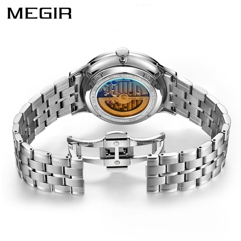 MEGIR Top Brand Luxury Skeleton Automatic Mechanical Watch Men Stainless Steel Waterproof Man Wrist Watches Clock montre homme